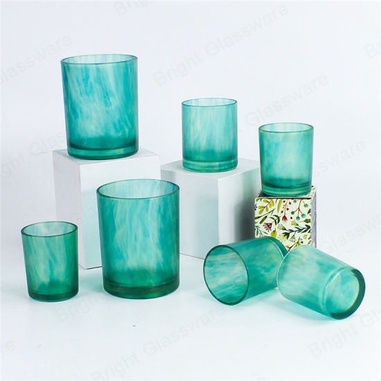 2020 New Customized Water Transfer Printing Green Glass Jar Candle Holder