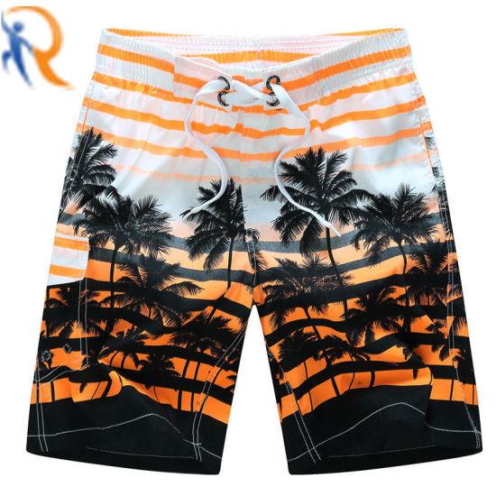 Men Quick Dry Striped Coconut Tree Print Drawstring Swim Trunks Shorts Surfing