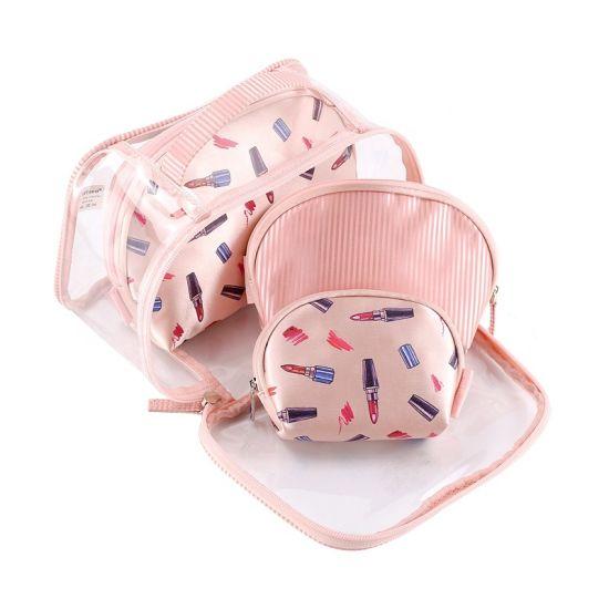 Clear PU Cosmetic Bag Set 4 in 1 Travel Cosmetic Bag Set Custom Logo Toiletry Bag Makeup Organizer for Women and Girls Cosmetic Bag