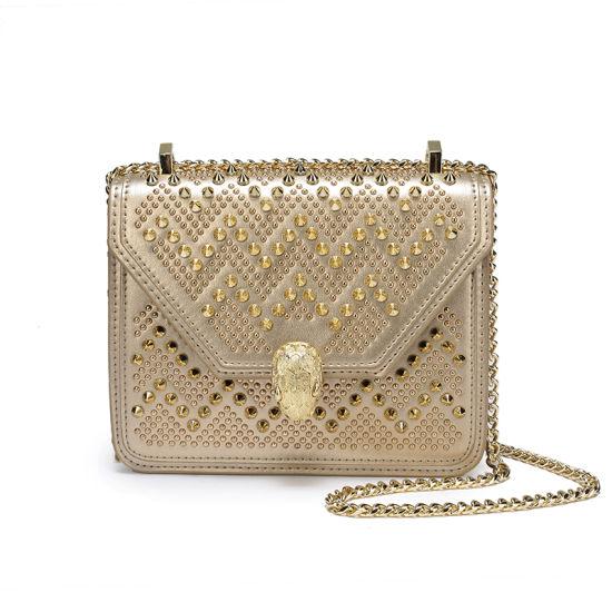 Rivet Leather Shoulder Handbag with Chain Strap