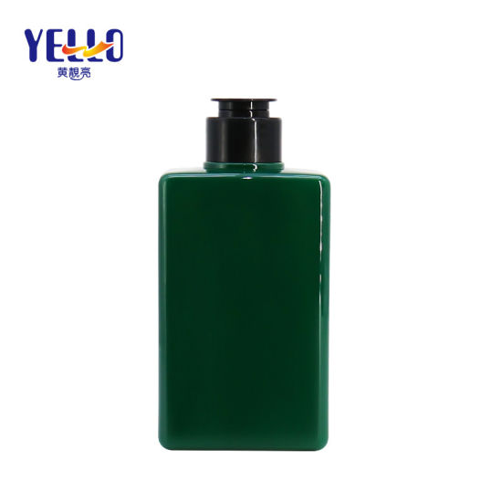 Custom Made 300ml Green Rectangular Shampoo Pet Bottle with Flip-Top Cap