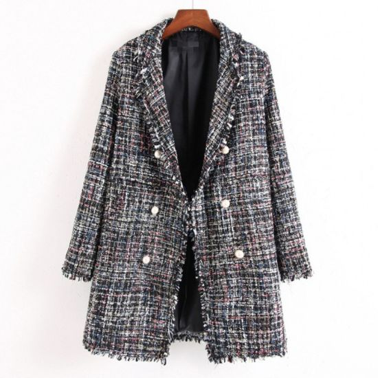 2020 New Style Wholesale Spring Long Women Loose Fit Plaid Coat