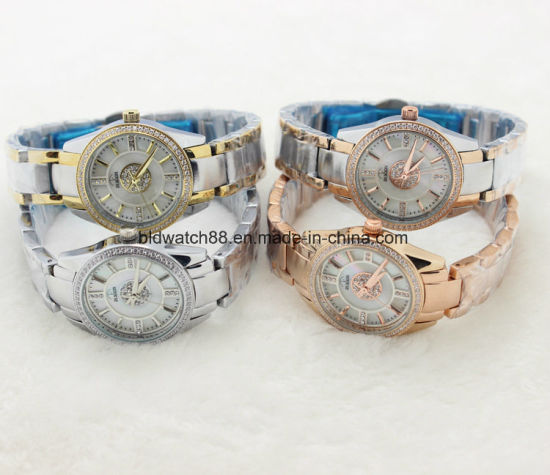 High Quality Luxury Brand Women Rhinestone Watches Gold Steel Dress Ladies Watch pictures & photos