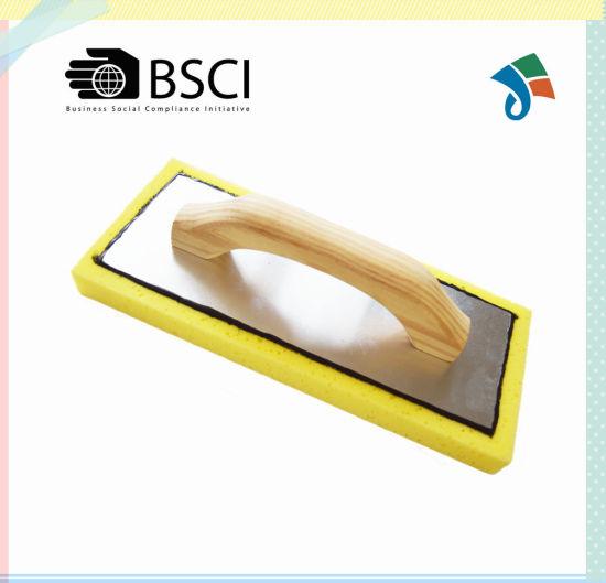 Swiss Cheese Sponge Float Plastering Trowel with Wood Handle Aluminum Backing