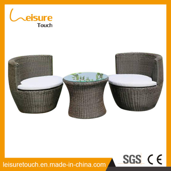 Patio Garden Balcony Chairs Round Rattan Relaxing Sofa Chair With Comfortable Cushion Set For