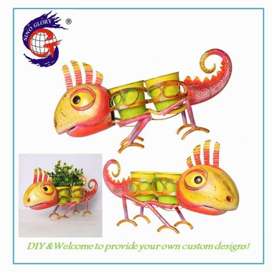 Best Selling Dinosaur House Ornaments Garden Iron Flower Pot Metal for Garden Decoration
