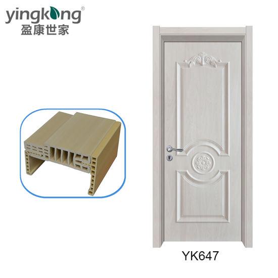 Toilet Use WPC Wooden Glass Doors Timber Doors Good for Bed Rooms Yk647