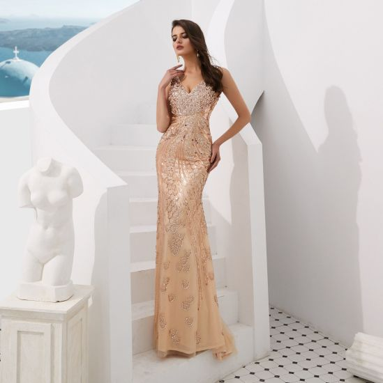 Sexy Luxury Mermaid Slim-Fit Regular Strap Backless with Heavy Sequin Evening Dress Celebrity Dress Banquet Dress Party Dress Stage Dress
