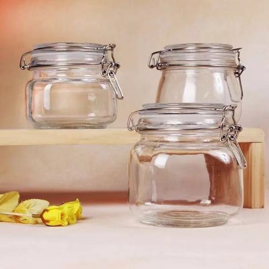 China Manufacturer Factory Airtight Food Glass Honey Jar Hermetic with Lid
