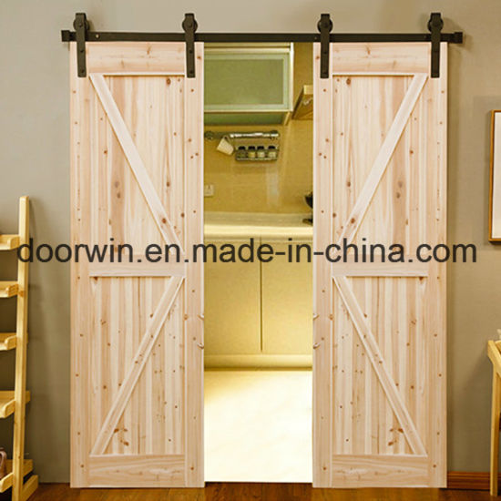 Modern Interior Doors Sliding Closet Wood Color Double K Type Barn Door