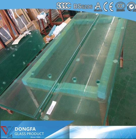 3X12mm Sgp Laminated Glass Stair Tread With Anti Slip Pattern