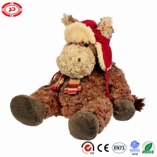 Donkey Brown Fluffy Plush Sitting Stuffed Xmas Gift Kids Toy
