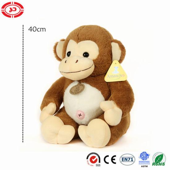 Brown Big Belly Cute Sitting Monkey Plush Animal Soft Toy