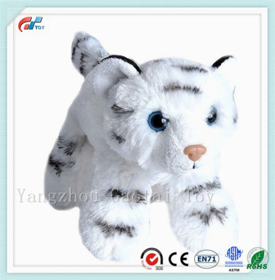Cute Small Size Stuffed White Tiger Animal Toy with Tiger Stripe Printed pictures & photos