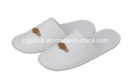 Print or Embroidery Logo Terry Hotel Indooer Slipper with EVA Sole