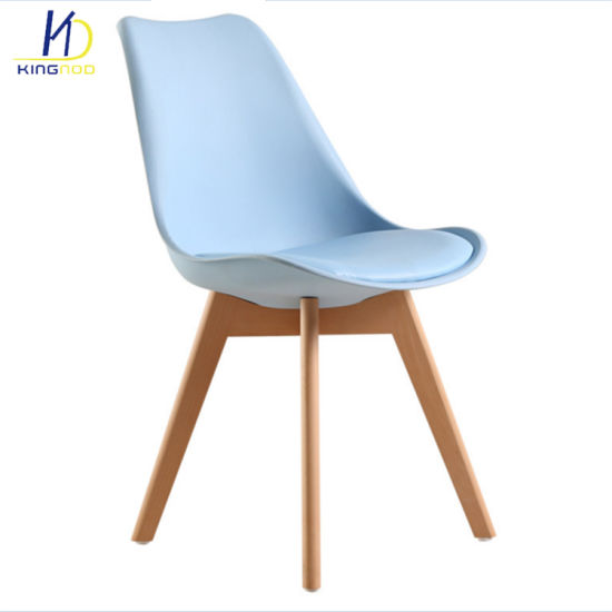 Wholesale Tulip PP Plastic Cushion and Wooden Legs Dining Chairs