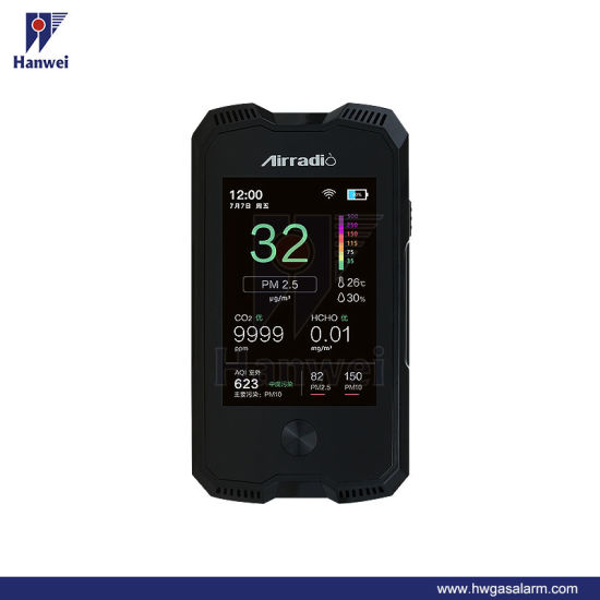 A6 Multi Function Formaldehyde Pm2.5 Pm10 CO2 Air Quality Monitor with HD TFT LCD Display