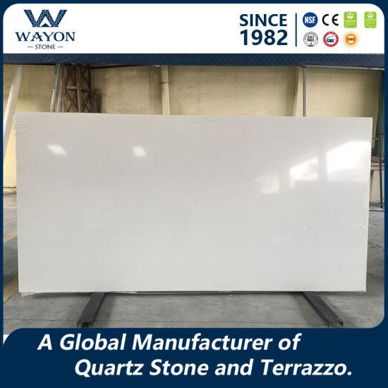 Artificial Pure White Quartz Stone for Carrara White Kitchen Worktop Wg025