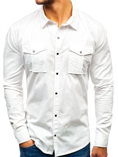 Men's Shirt Multi-Pocket Long-Sleeved Solid Color Cotton Shirt Clothing