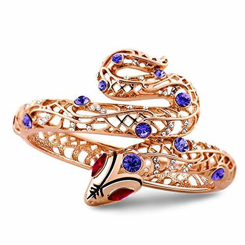 Rose Gold Plated Sexy Snake Purple Crystal Bangle Red Rhinestone Cuff Bracelet for Women