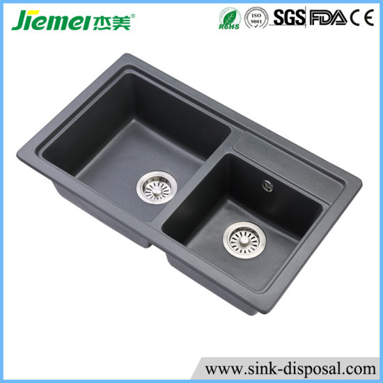 Standard Size Durable Double Bowl Kitchen Sink With Drain Board