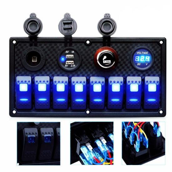 8gang Circuit LED Car Marine Waterproof 5 Pin Boat Rocker Switch Panel with Fuse Dual USB Slot LED Light + Power Socket Breaker Voltmeter