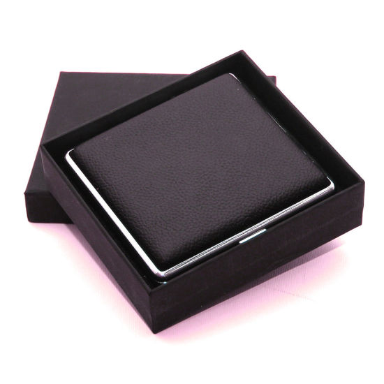 Black Genuine Leather Cigarette Case Box Hold for 20 Cigarettes with Gift Box pictures & photos