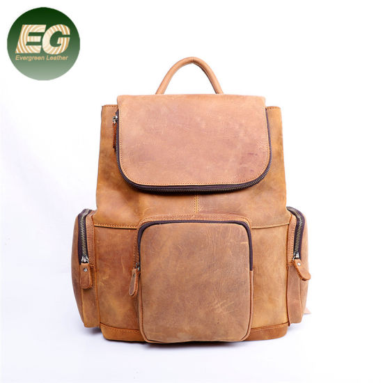New Arrival Vintage Unisex Custom Crazy Horse Leather Canvas Laptop Backpack Emh011 pictures & photos