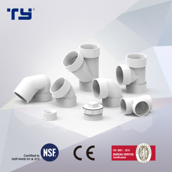 PVC ASTM D2665 Dwv Tripple Plastic Pipe Fittings Made in China (TEE, COUPLING, ELBOW, 45 DEG ELBOW)