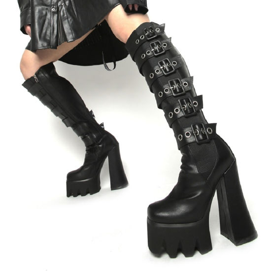 Fashion Women Shoes High Heels Lady Chunky Long Ladies Shoes Women Boots