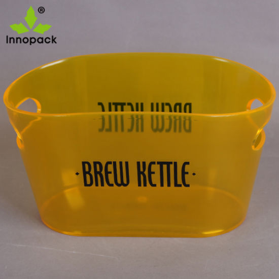 12liter Yellow Clear Ice Bucket Made of Material for Beer