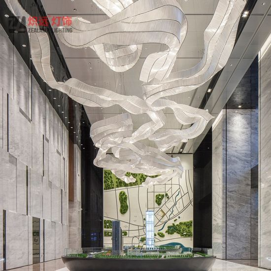 Hotel Project Engineering Modern Luxury Lobby Ribbon Shade Glass Chandelier
