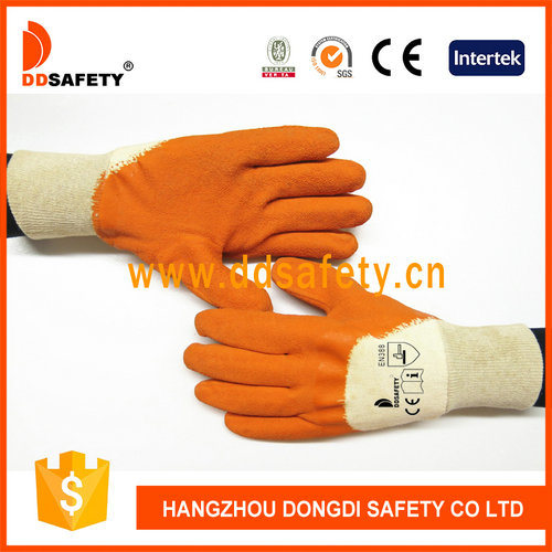Latex Coated Protective Cotton Glove with Open Back