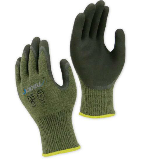 13G ANSI Cut Level A9 Work Gloves, with Black Sandy Latex Coating on Palm