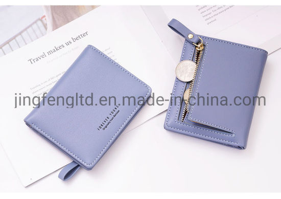 Fashion Wholesale Zipper Lady Wallets PU Leather Bifold Money Bag Card Holder Coin Purse Wallet pictures & photos