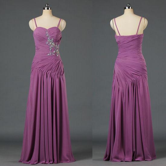Formal Spaghetti Straps Eveining Dress Bead Chiffon Celebrity Gown E181
