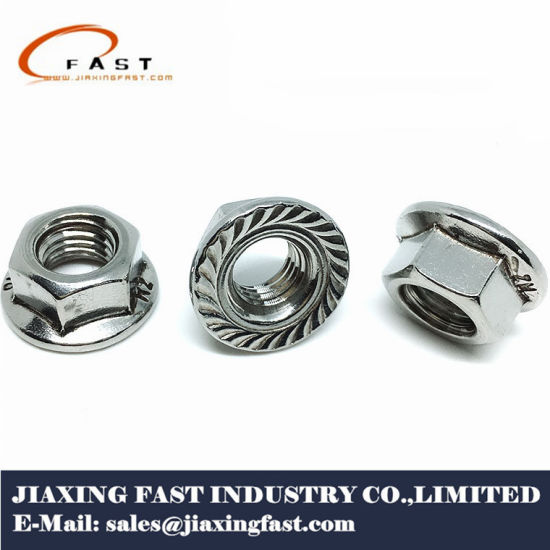 China Stainless Steel Prevailing Torque Hexagon Flange Nuts