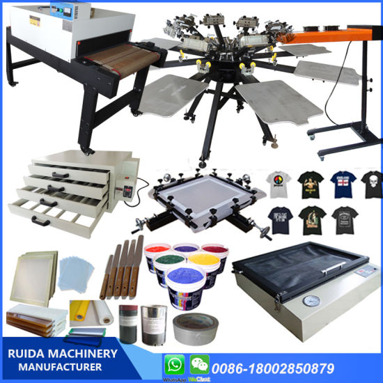 Factory Selling Micro-Registration T Shirt Manual Screen Printing Machine Double Rotary with Full Kit