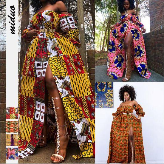 African Style Digital Printing Women's Summer Long-Sleeved One-Neck Split Dress