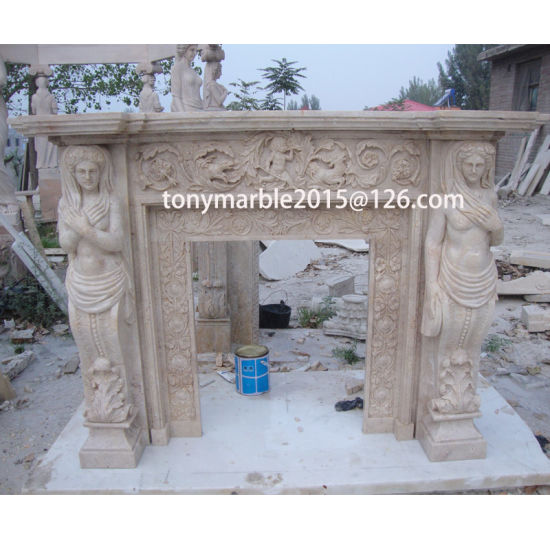 Statue Surface Carved Marble Fireplace (SY-MF013) pictures & photos