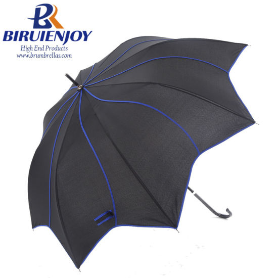 2019 Hot Selling Flower Shape Ladies Straight Umbrella with Curved Handle