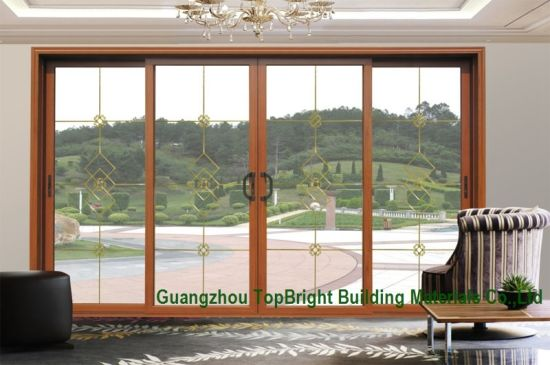 China Latest Woodwooden Frame Sliding Glass Door System Design