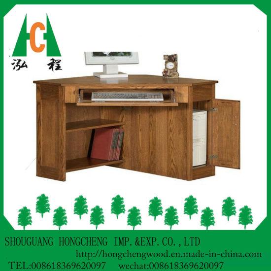 China Modern Solid Wood Corner Computer Desk Design With Storage