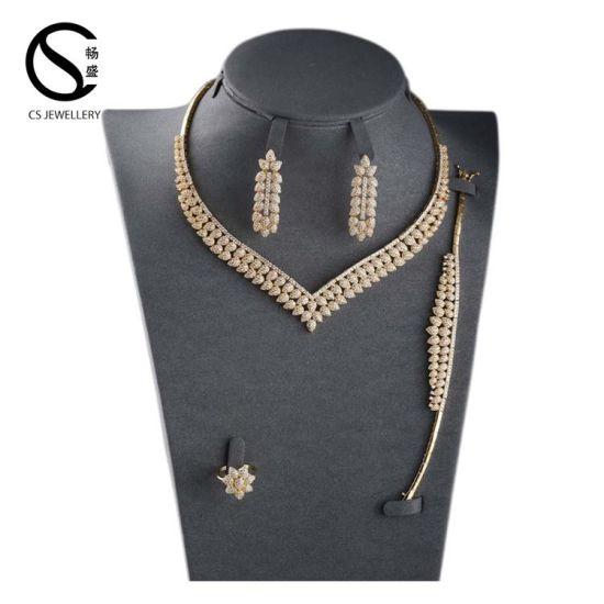 917be8ab78dd7 S16176W4w08 CS Luxury White Gold Plated Elegant Shape Bridal CZ Necklace  Wedding Jewelry Sets for Brides
