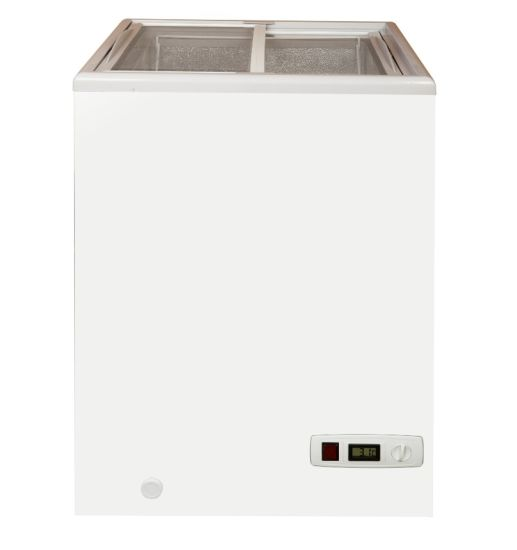 100L Small Flat Sliding Glass Top Lid Chest Ice Cream Showcase Freezer