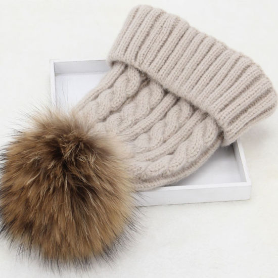 Factory Wholesale Ladies Knitted Winter Fur POM POM Beanie Hats