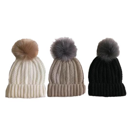 Lady Winter Fashion Warm Chunky Bobble Hat Cap with Faux Fur Pompom