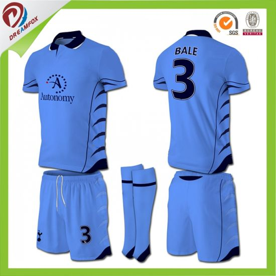 Sublimation Thai 100% Polyester Custom Dark Soccer Jersey Football Shirt  Kids f46b6e6d4