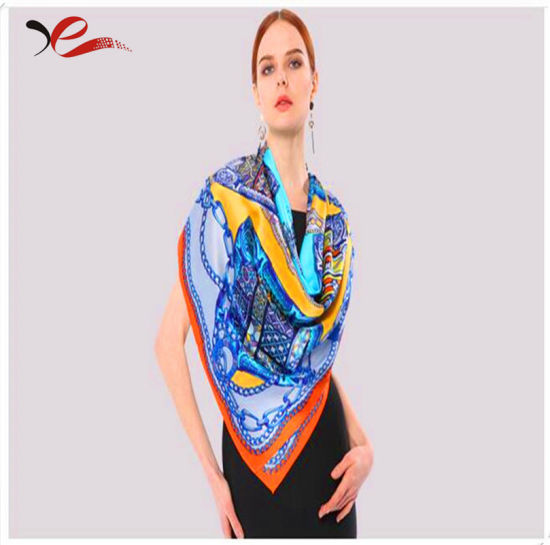 Ha072 100% Silk Scarf 110cm*110cm by Machine Rolled pictures & photos