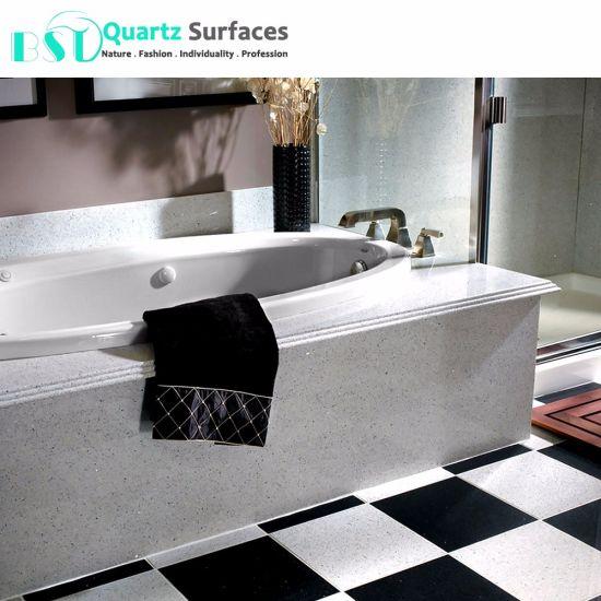 Custom White Sparkle Quartz Stone For Floor Tile